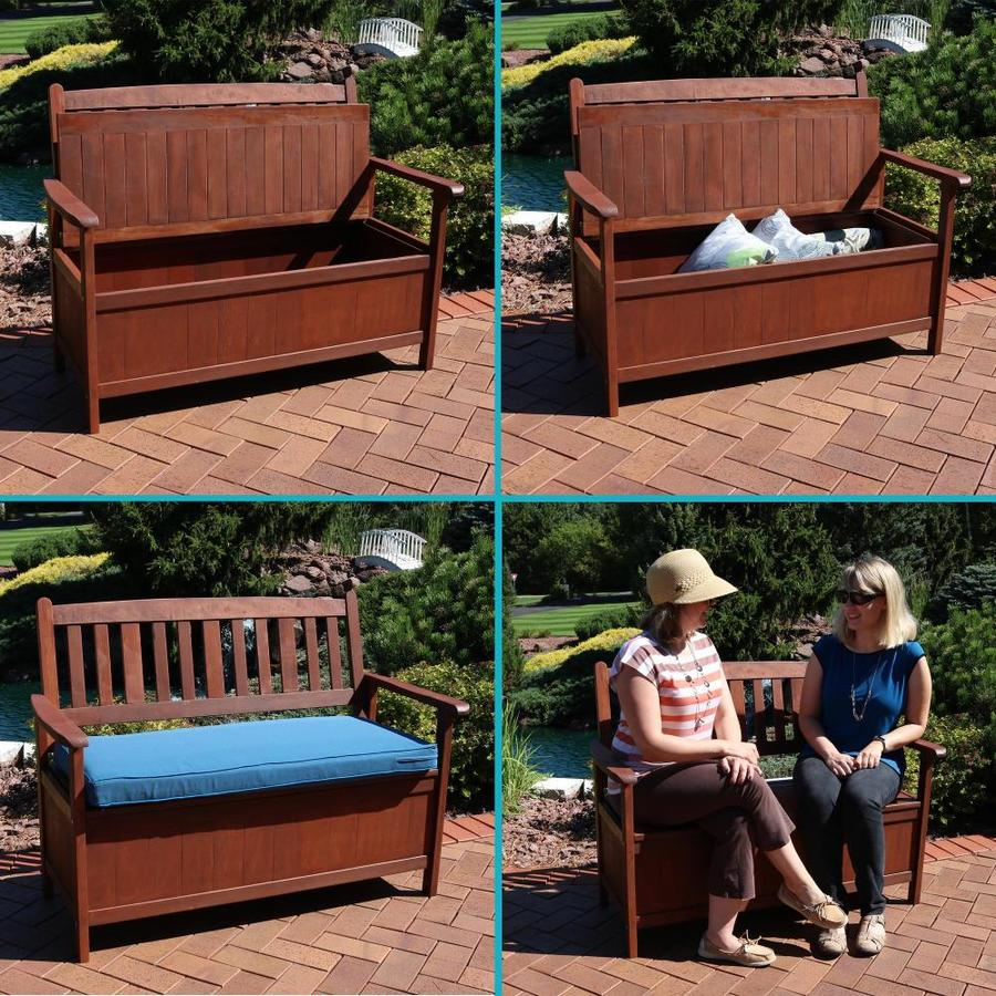 Sunnydaze Decor Sunnydaze Decor Meranti Wood 2 Seat Storage Bench In The Patio Benches Department At Lowes Com