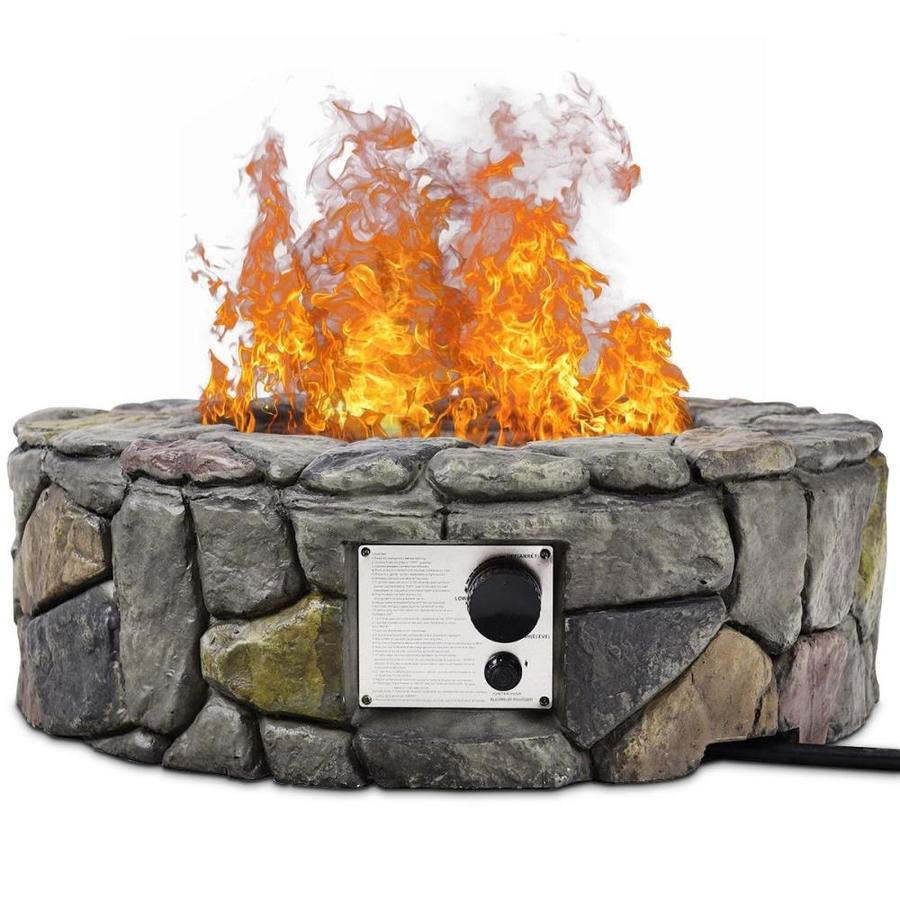 Casainc W 40000 Btu Gray Portable Stone Natural Gas Fire Pit In The Gas Fire Pits Department At Lowes Com