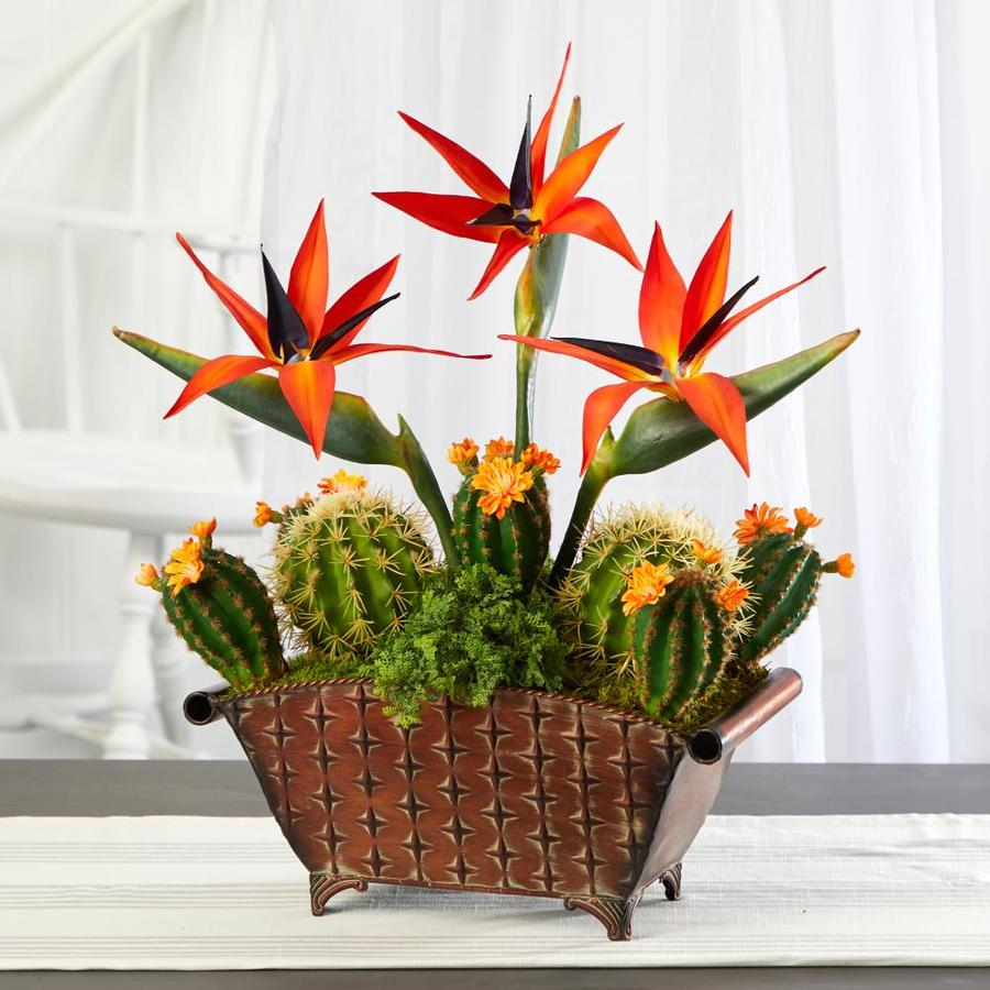 Nearly Natural 21 In Orange Indoor Artificial Silk Plant Plants In The Artificial Plants Flowers Department At Lowes Com