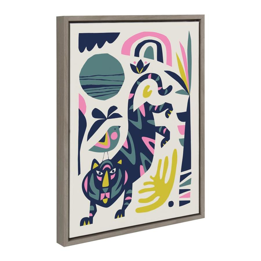 Kate And Laurel Sylvie Mid Century Modern Tiger And Bird Framed Canvas By Rachel Lee Of My Dream Wall 18x24 Gray In The Wall Art Department At Lowes Com