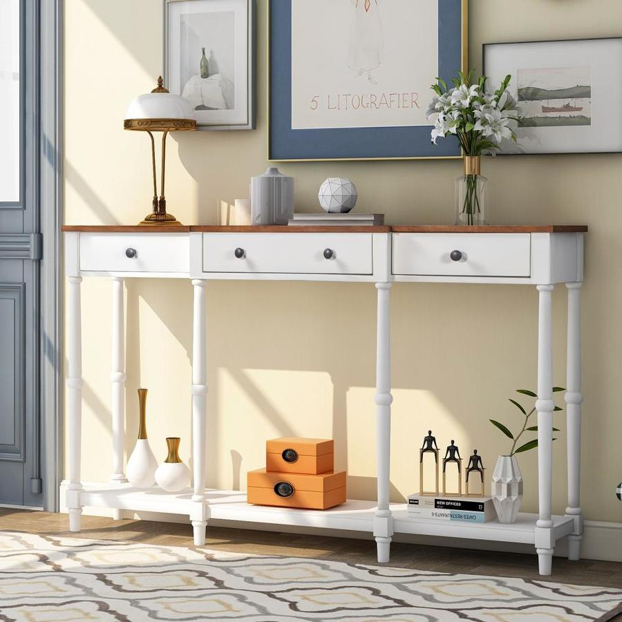 Casainc White Solid Wood Console Table Classic Entryway Table With Storage Shelf And Drawer For Home In The Console Tables Department At Lowes Com