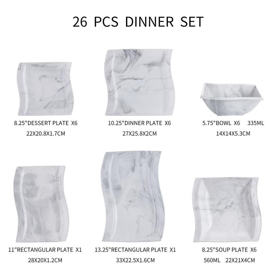 Malacasa Flora 26 Piece Marble Gray Porcelain Dinnerware Set Service For 6 In The Dinnerware Department At Lowes Com
