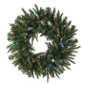Vickerman 30-in Pre-Lit Artificial Christmas Wreath with Multicolor LED Lights A118632LED
