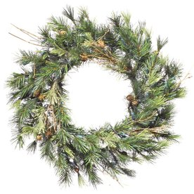 Vickerman 16-in Pre-Lit Pine Artificial Christmas Wreath with White Incandescent Lights A801819