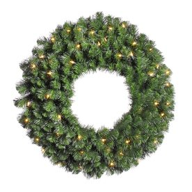 Vickerman 24-in Pre-Lit Douglas Fir Artificial Christmas Wreath with White Incandescent Lights A808824