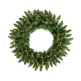 Vickerman 24-in Pre-Lit Camden Fir Artificial Christmas Wreath with White LED Lights A861025LED