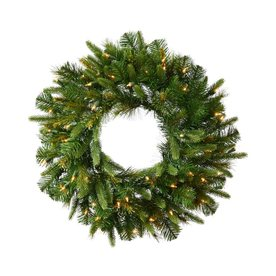 Vickerman 24-in Pre-Lit Cashmere Artificial Christmas Wreath with White Incandescent Lights A118325