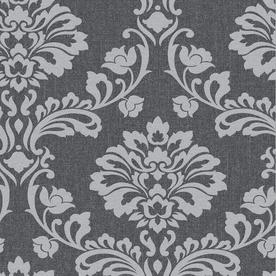 Display product reviews for Midas 56-sq ft Grey Vinyl Textured Damask Wallpaper