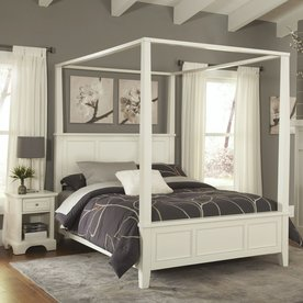 Home Styles Naples White Queen Canopy Bed & Night Stand