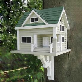 Home Bazaar Bungalow Birdhouse - Grey with Green Roof