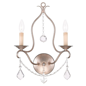 LIVEX Chesterfield 12-In W 2-Light Antique Silver Leaf Ca...
