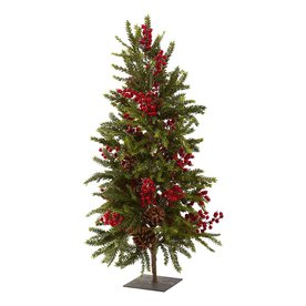 Nearly Natural Pine and Berry 2.9-ft Unlit Winterberry Artificial Christmas Tree 5350