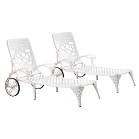 Home Styles Furniture 5552-832 Biscayne White Chaise Lounge Chairs, Set of Two