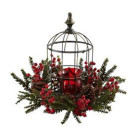 Nearly Natural Silk Arrangement Tabletop Candle Holder Indoor Christmas Decoration 4814