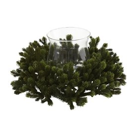 Nearly Natural Silk Arrangement Tabletop Candle Holder Indoor Christmas Decoration 4819
