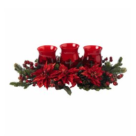 Nearly Natural Silk Arrangement Tabletop Candle Holder Indoor Christmas Decoration 4914