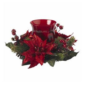 Nearly Natural 1 Candle Red Glass Christmas Candle Holder...