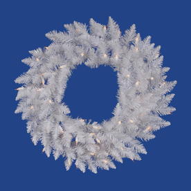 Vickerman 36-in Pre-Lit Spruce Artificial Christmas Wreath with White LED Lights A104237LED