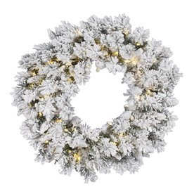 Vickerman 30-in Pre-Lit Flocked Artificial Christmas Wreath with White LED Lights A128231LED