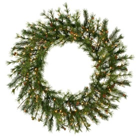 Vickerman 60-in Pre-Lit Pine Artificial Christmas Wreath with White Incandescent Lights A801861