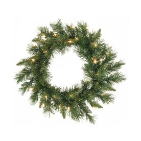 Vickerman 24-in Pre-Lit Imperial Pine Artificial Christmas Wreath with White Incandescent Lights A877325