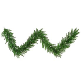 Vickerman 14-in x 9-ft Pre-Lit Tinsel Artificial Christmas Garland with Green Incandescent Lights K125815