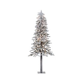 Vickerman 7-ft Pre-Lit Alpine Flocked Slim Artificial Christmas Tree with White Incandescent Lights A807471