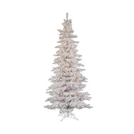 Vickerman 6.5-ft Pre-Lit Spruce Flocked Artificial Christmas Tree with White Incandescent Lights A893566