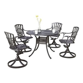 Home Styles Largo 5-Piece Charcoal Aluminum Patio Dining ...
