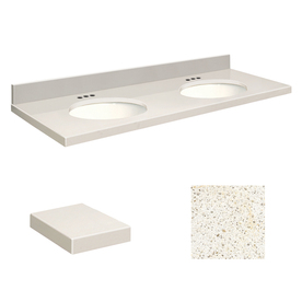 Transolid Milan White Quartz Undermount Double Sink Bathroom Vanity Top (Common: 61-in x 22-in; Actual: 61-in x 22-in) Q61222-3A-A-W-4