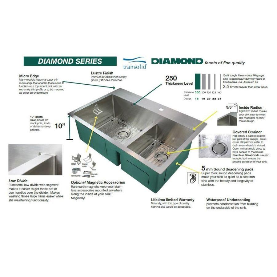Transolid Diamond Dual Mount 15 In X 17 In Brushed Stainless Single Bowl 3 Hole Kitchen Sink All In One Kit In The Kitchen Sinks Department At Lowes Com