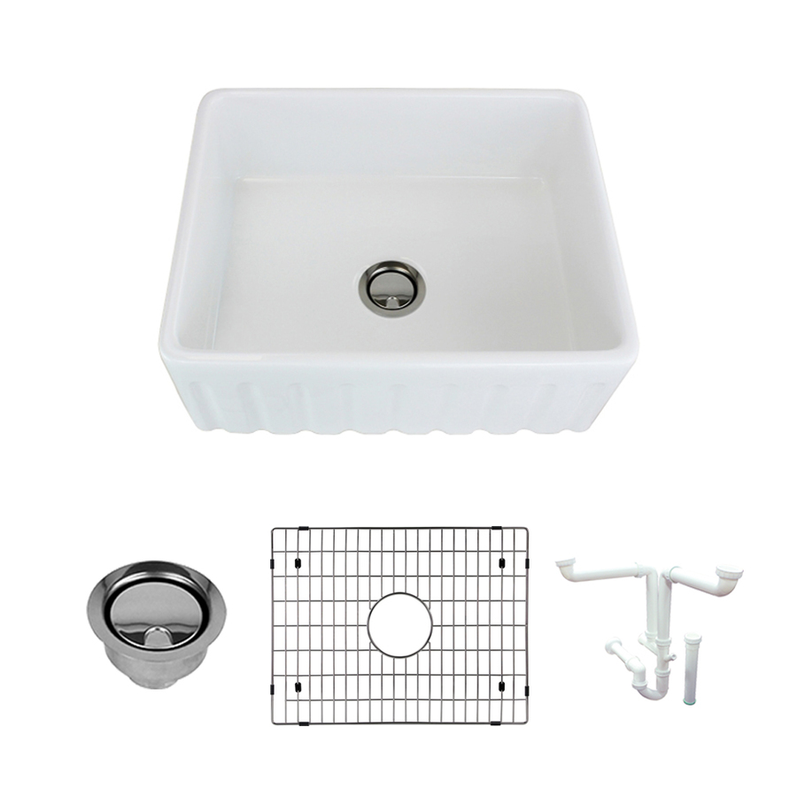 Transolid Logan 23.5-In X 18.7031-In White Single Bowl Tall (8-In Or Larger) Undermount Apron Front/Farmhouse Residentia