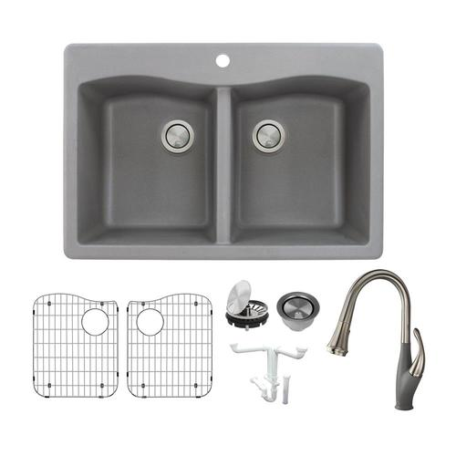 Transolid Aversa 33-in x 22-in Grey Double-Basin Drop-in 1-Hole Residential Kitchen Sink All-in-one Kit KF-ATDE3322-17