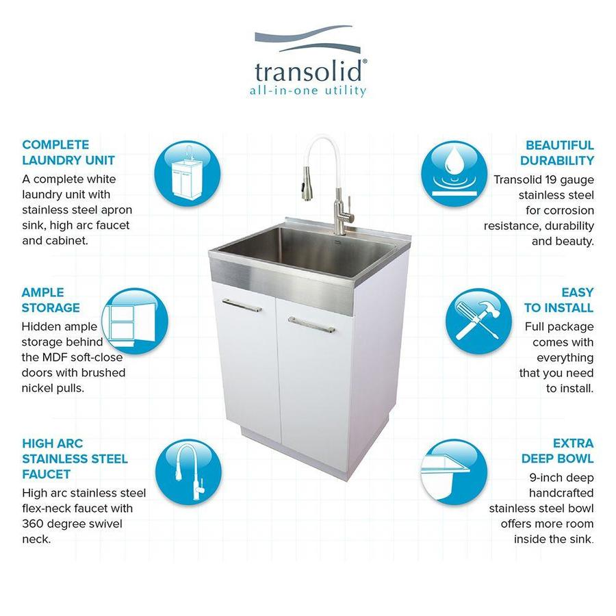 Transolid Transolid Tca 2420 Ws 24 In X 20 In X 34 6 Laundry Sink Cabinet With Faucet White In The Utility Sinks Department At Lowes Com