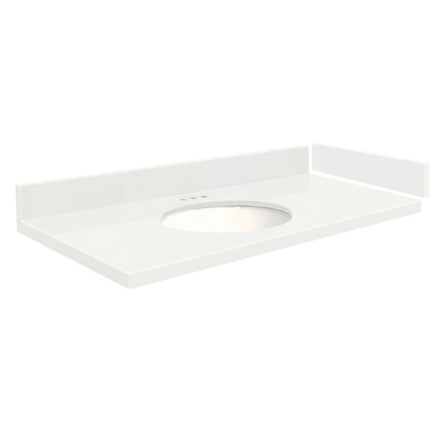 Transolid 61.25-In Natural White Quartz Bathroom Vanity Top Vt61.25X22-1Ou-4W-4