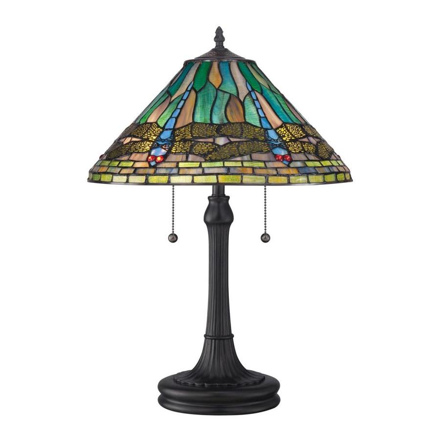 Quoizel King 20-in Cinnamon Incandescent Table Lamp with Glass Shade | TF1508TVB