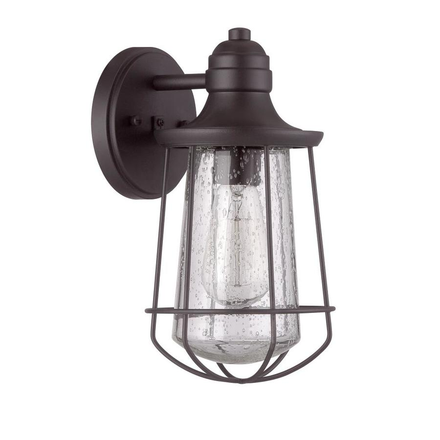 Portfolio Valdara 11 5 In H Black Medium Base E 26 Outdoor Wall Light In The Outdoor Wall Lights Department At Lowes Com