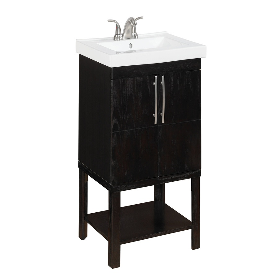 Style Selections Foley Espresso Integral Single Sink Oak Bathroom Vanity With Vitreous China Top Common 24 In X 19 Actual 25