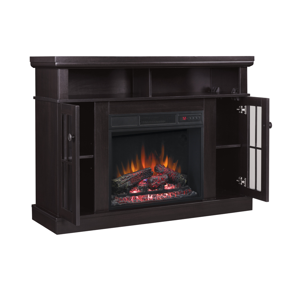 Chimney Free 47 75 In W Espresso Fan Forced Electric Fireplace In The Electric Fireplaces Department At Lowes Com