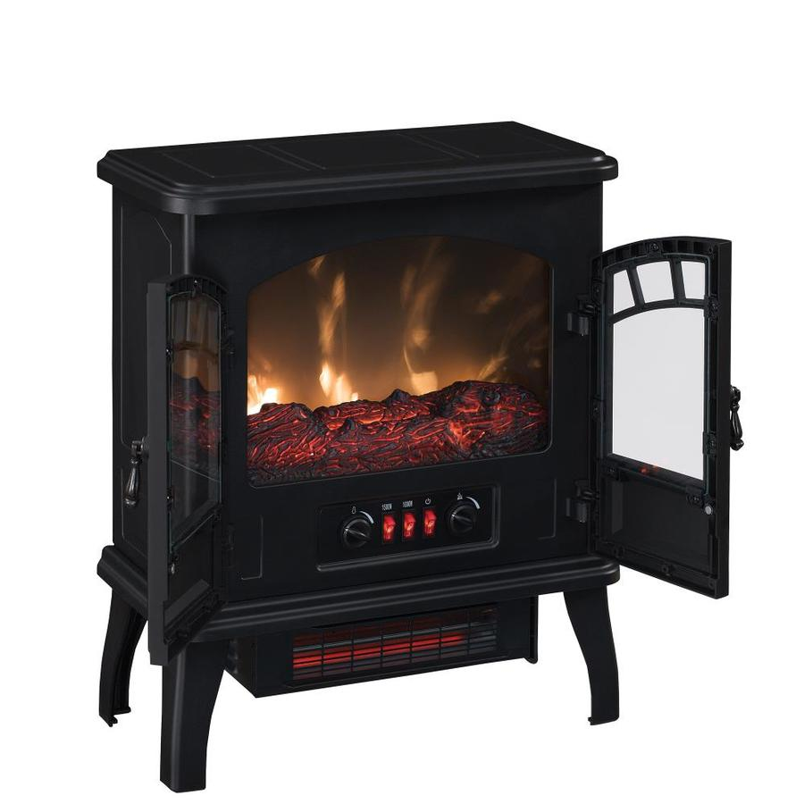 Duraflame 19 5 In W 5200 Btu Black Metal Infrared Quartz Electric Stove With Thermostat In The Electric Stoves Department At Lowes Com