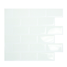 Backsplashes: Smart Tiles Building Materials 10.96 in. x 9.75 in. Subway Mosaic Decorative Wall Tile in White (6-Pack) Whites SM1020-6