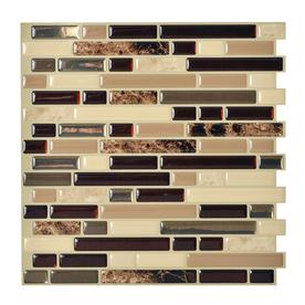 Shop Smart Tiles 6 Pack Brown Glossy Composite Vinyl