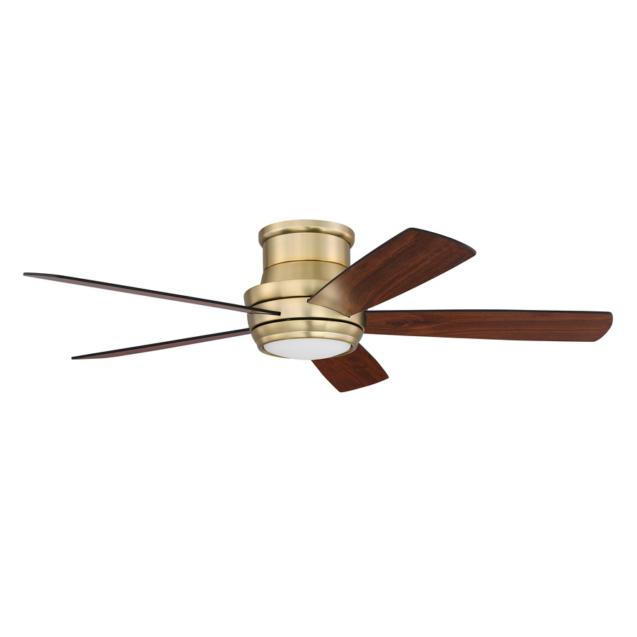 Craftmade Tempo 52-In Satin Brass Led Indoor Flush Mount Ceiling Fan With Light Kit And Remote (5-Blade) Tmph52sb5
