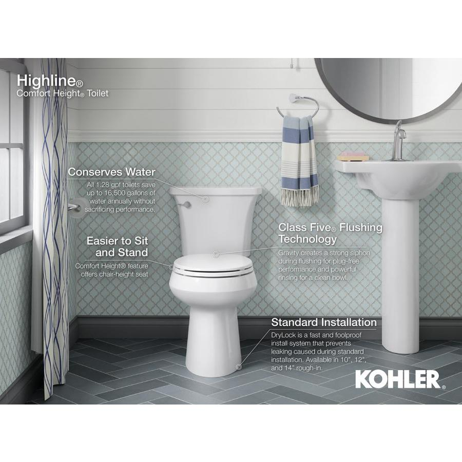 Kohler Highline Classic White Elongated Chair Height 2 Piece Toilet 12 In Rough In Size Ada Compliant In The Toilets Department At Lowes Com