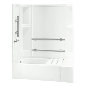 Sterling Accord White 4-Piece Alcove Shower Kit (Common: ...