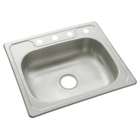 Sterling Middleton 33-in x 22-in Satin Single-Basin Stainless Steel Drop-In 4-Hole Residential Kitchen Sink 14631-4-NA
