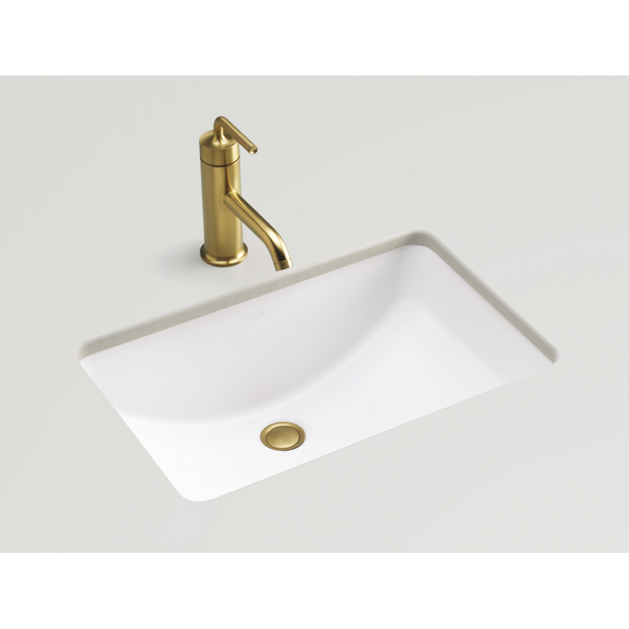 Shop kohler ladena honed white undermount rectangular - Rectangle undermount bathroom sink ...