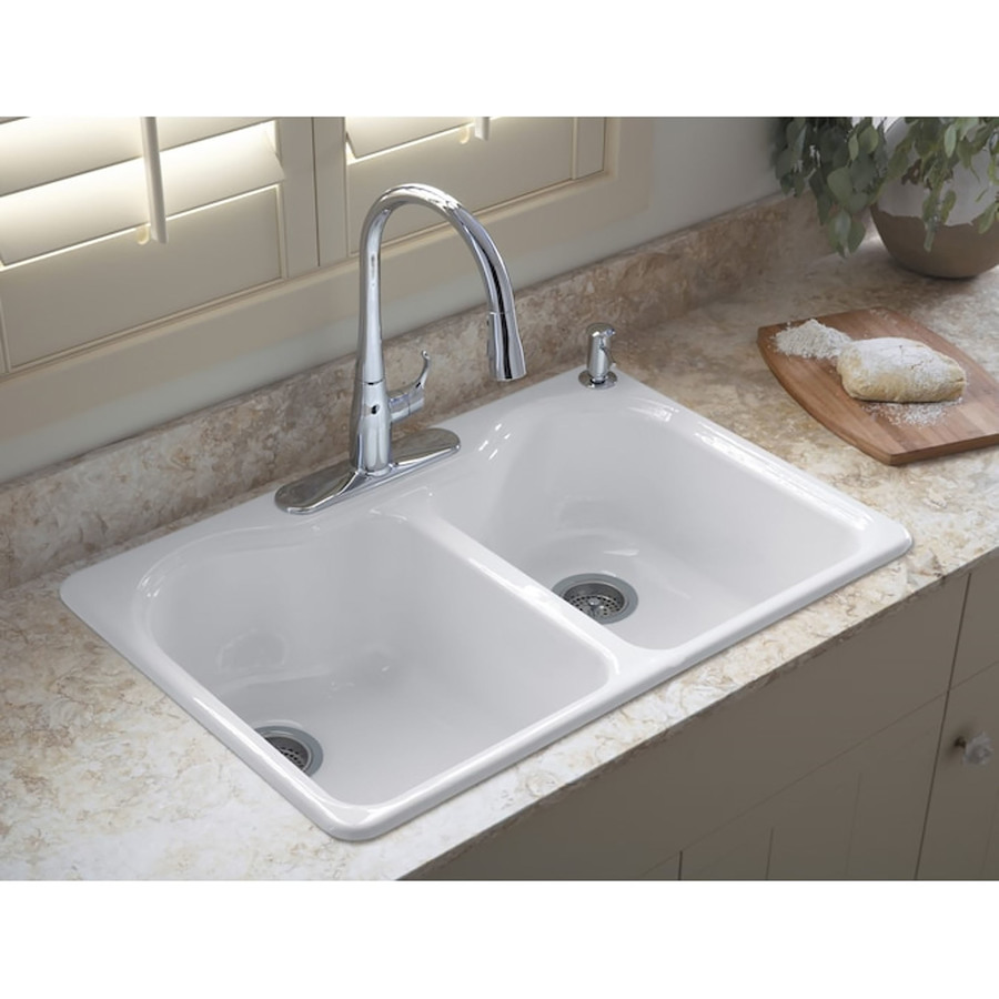 Shop KOHLER Hartland White Double-Basin Drop-In Kitchen