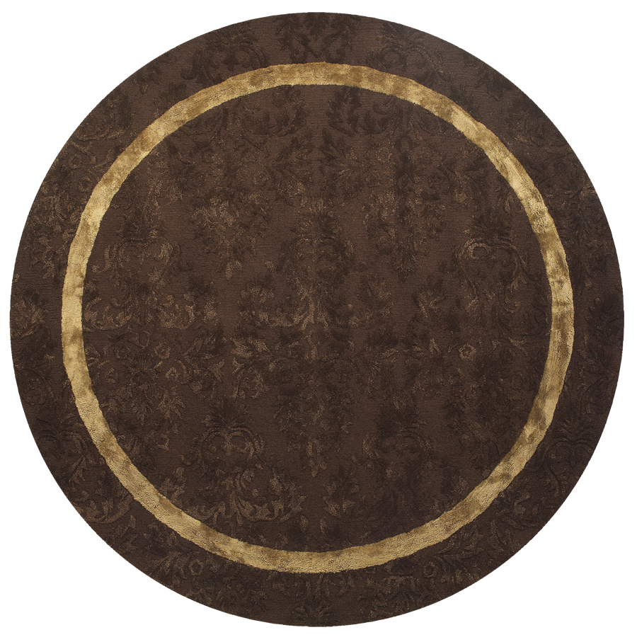 Shop Catalina Round Brown Solid Tufted Wool Area Rug