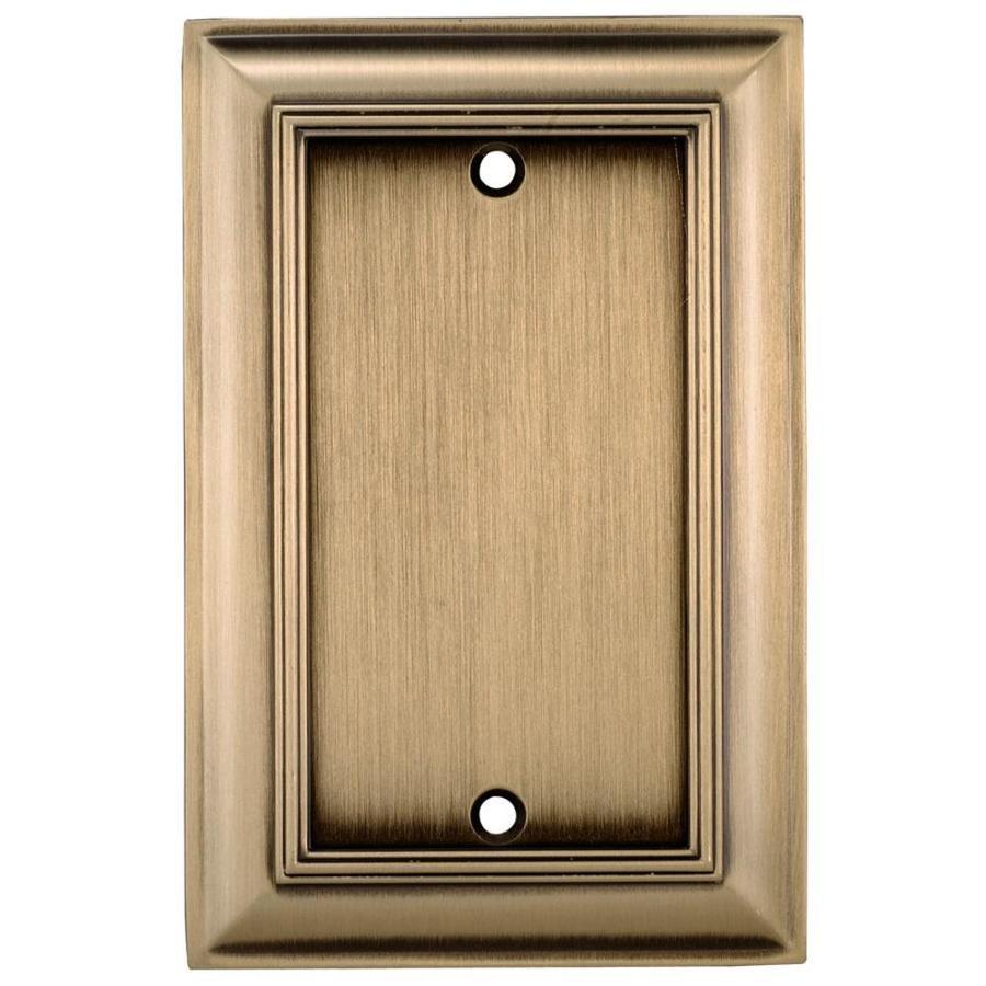 allen + roth 1-Gang Antique Brass Blank Metal Wall Plate Z1768B-ABH ...